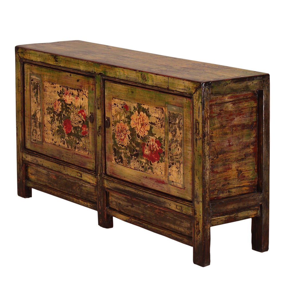 Vintage Sideboard from Gansu with Painted Peonies - Chinese homewares- Rouge Shop antique stores London - city furniture