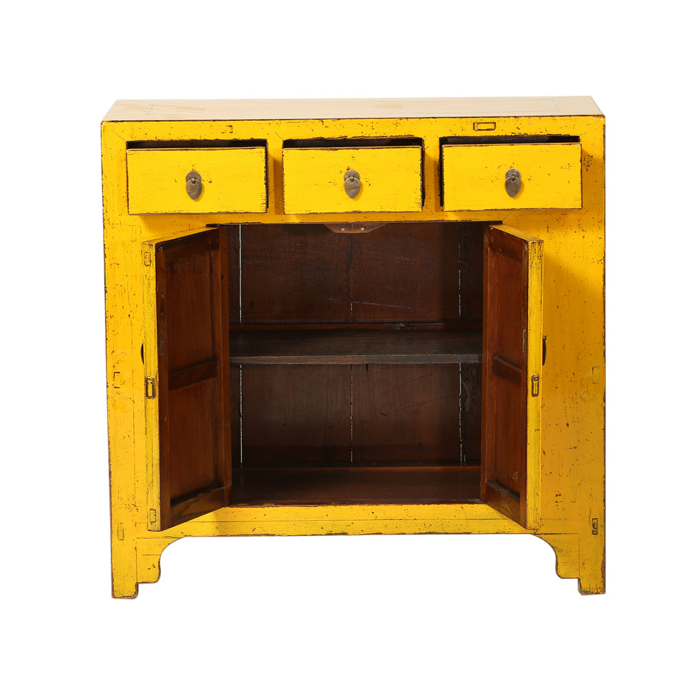 Vintage Chinese Three-Drawer Two-Door Cabinet from Shandong