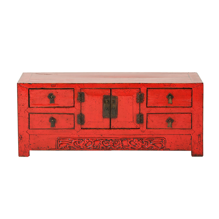 Vintage Red Sideboard from Tianjin with Carved Apron - Chinese homewares- Rouge Shop antique stores London - city furniture