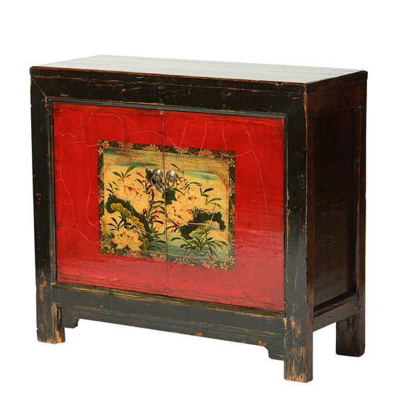 Vintage Poplar Cabinet from Gansu with Lotus Motif - Chinese homewares- Rouge Shop antique stores London - city furniture