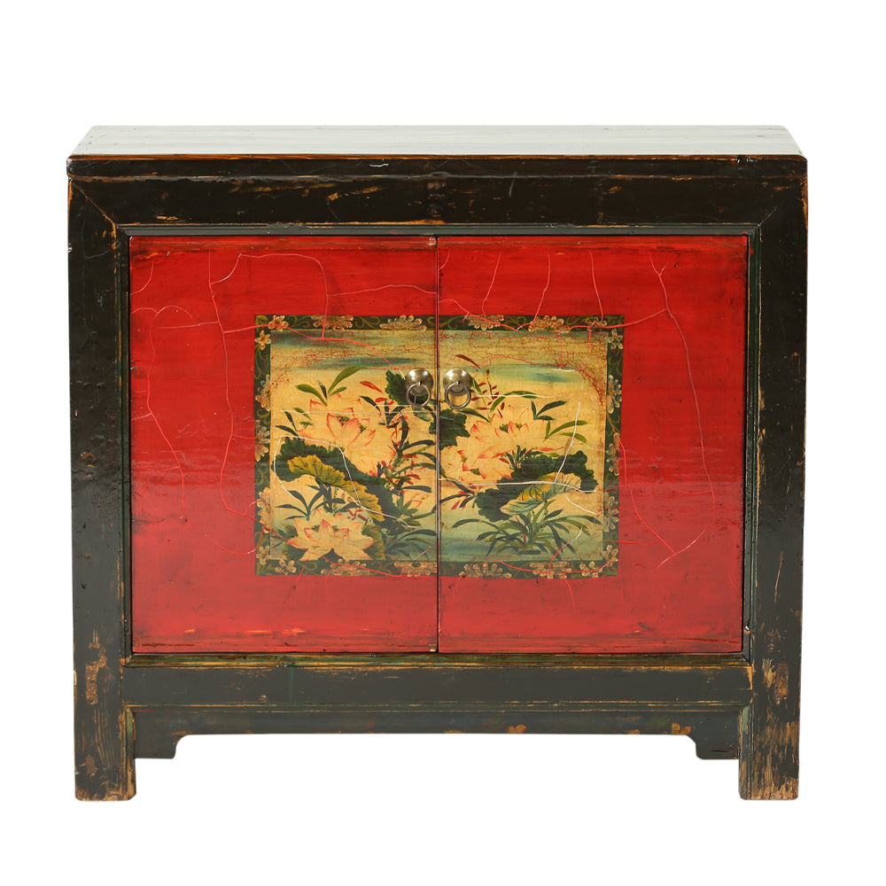 Vintage Poplar Cabinet from Gansu with Lotus Motif