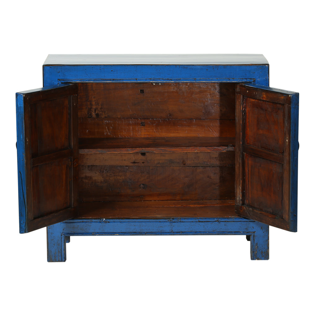 Vintage Chinese Blue Cabinet from Gansu