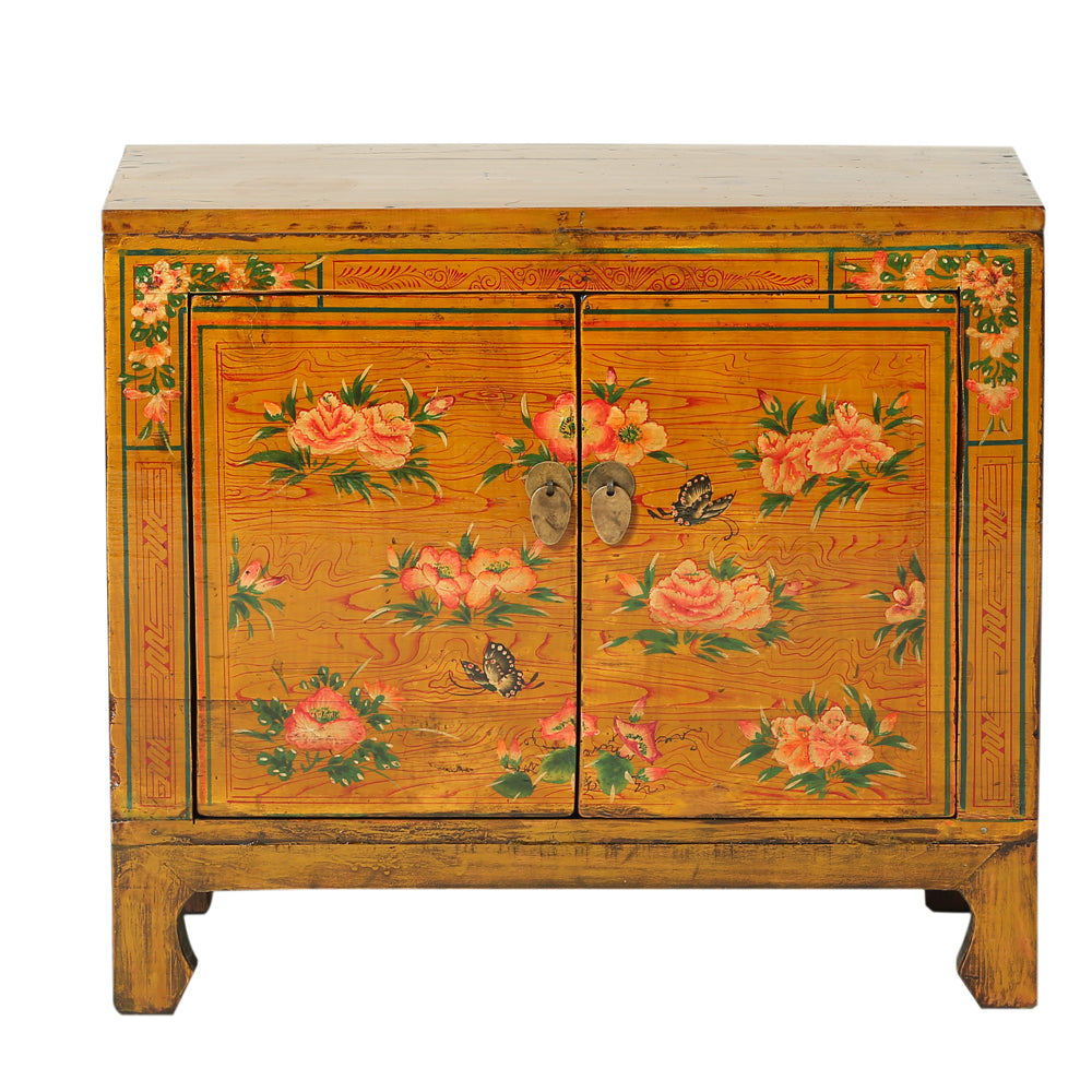 Orange Vintage Chinese Cabinet from Gansu