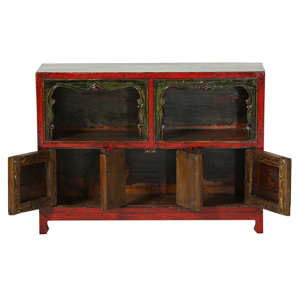Vintage Red Chinese Cabinet from Qinghai