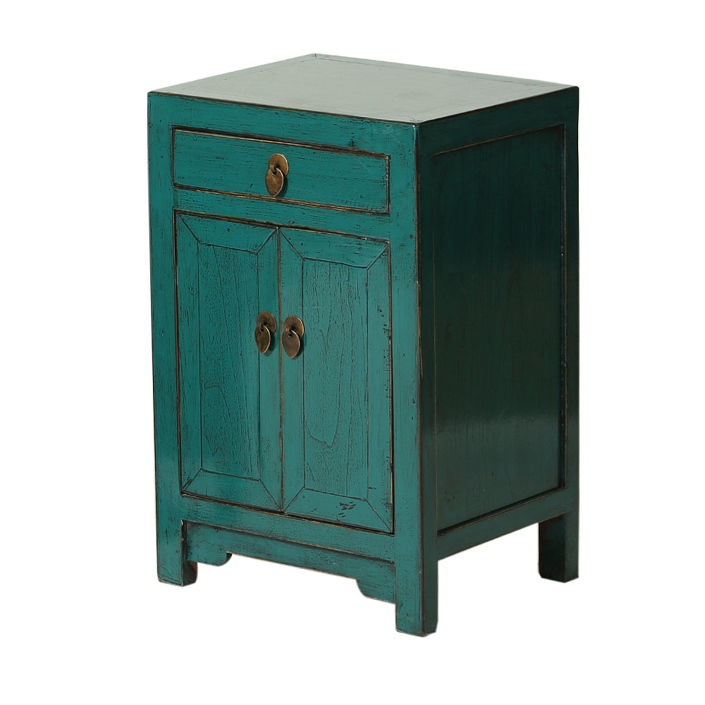 Teal Chinese Bedside Cabinet Shandong Style
