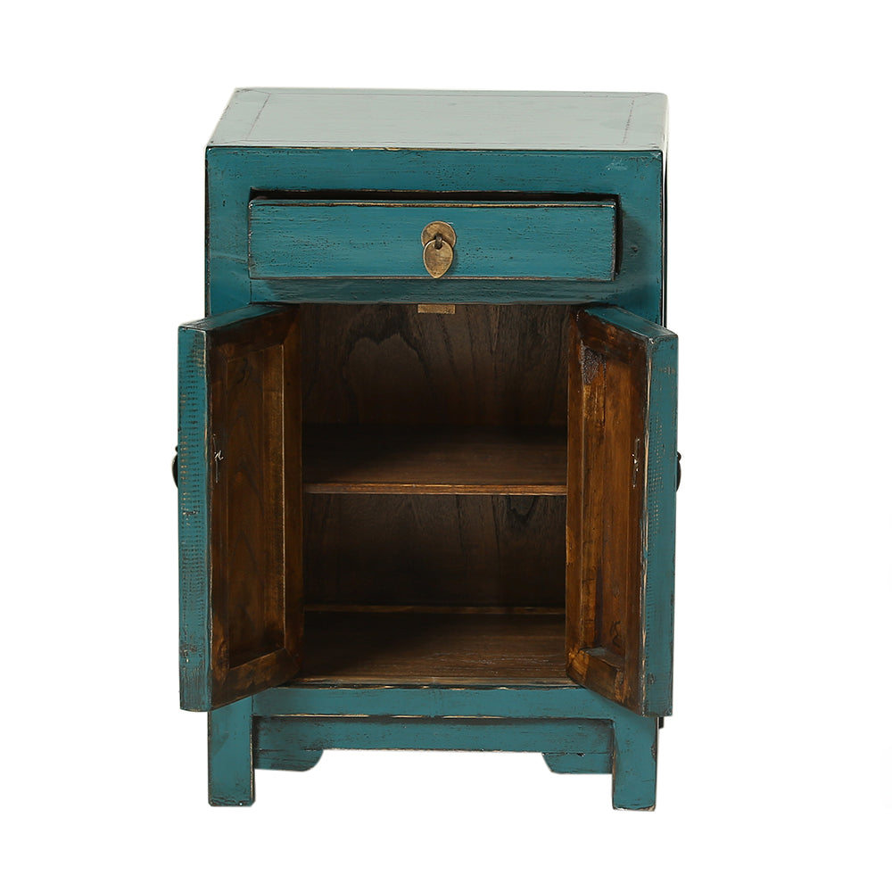 Teal Chinese Bedside Cabinet Shandong Style - Chinese homewares- Rouge Shop antique stores London - city furniture