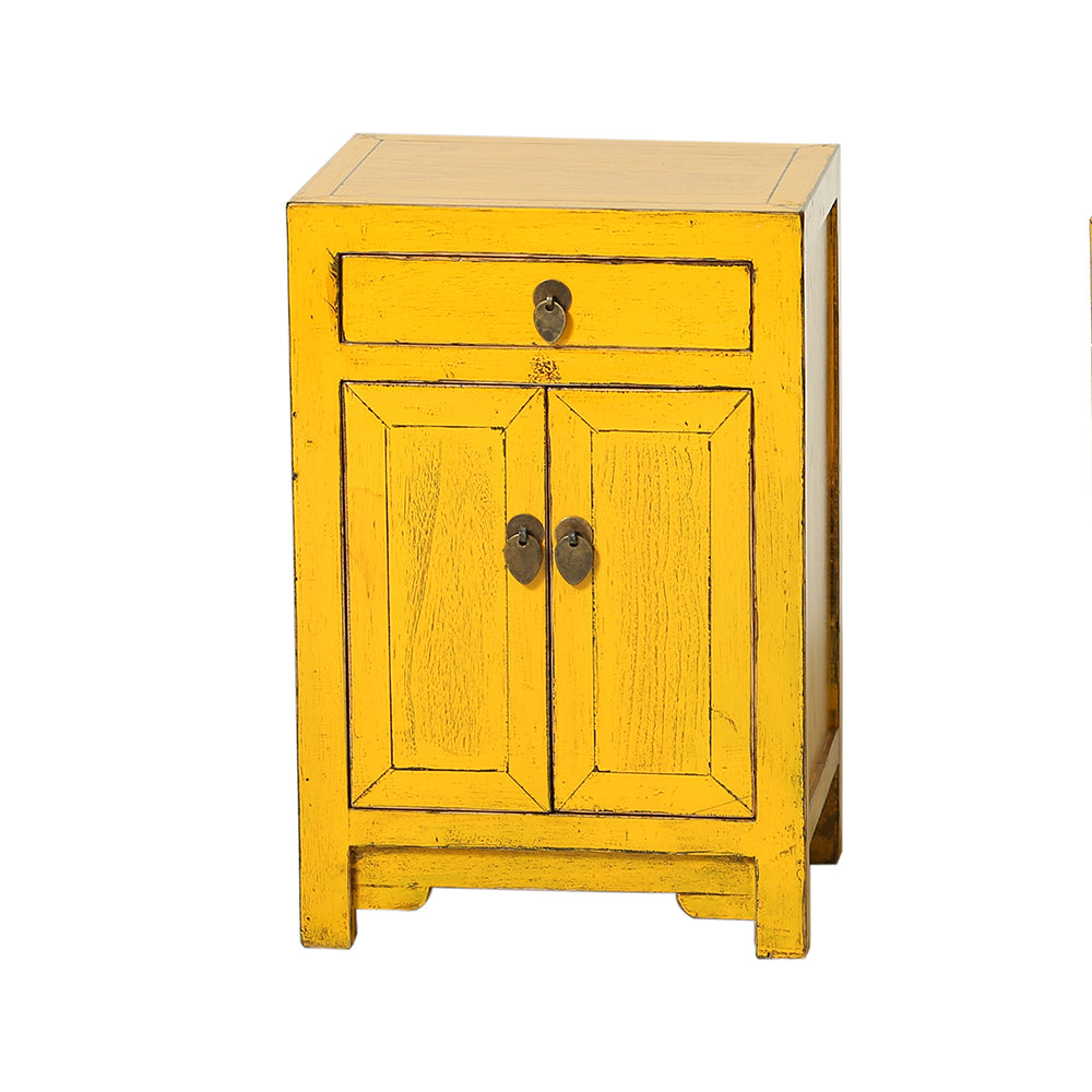 Yellow Chinese Bedside Cabinet Shandong Style