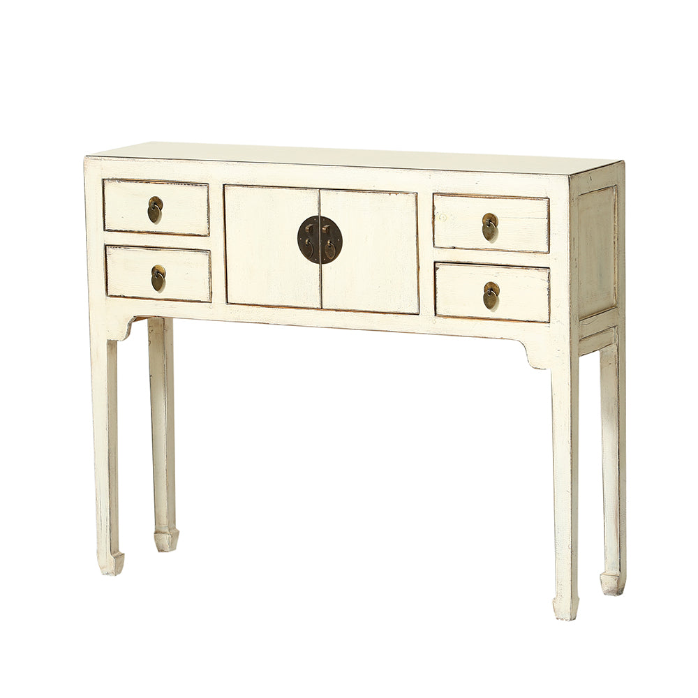 White Chinese Console Table