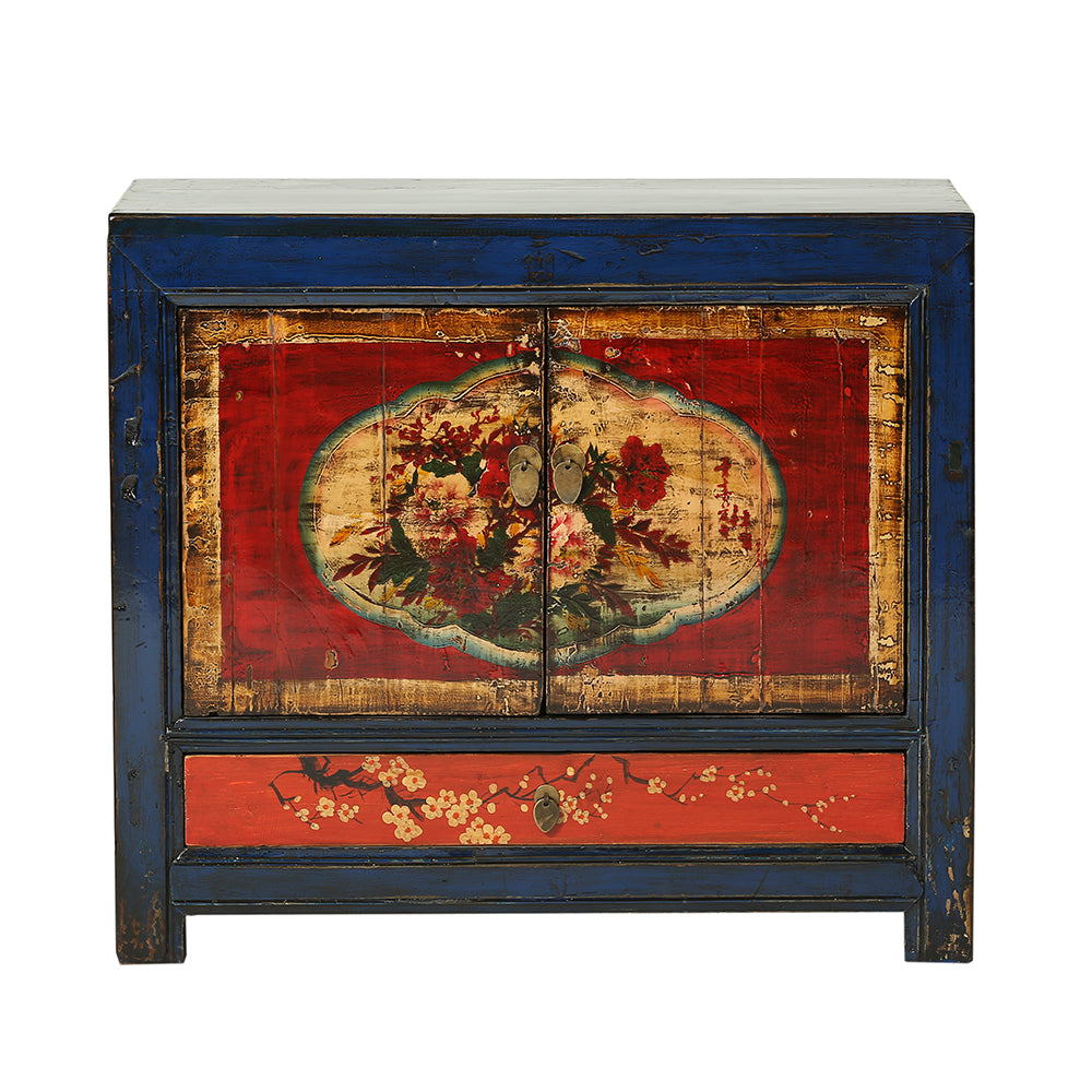 Vintage Blue Gansu Cabinet with Peonies and Plum Blossom