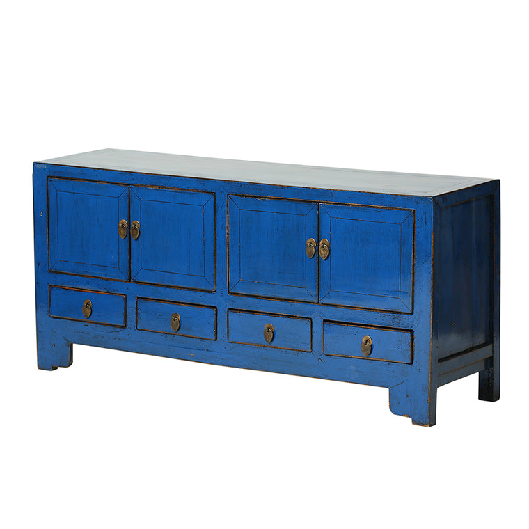 Small Vintage Blue Sideboard from Tianjin