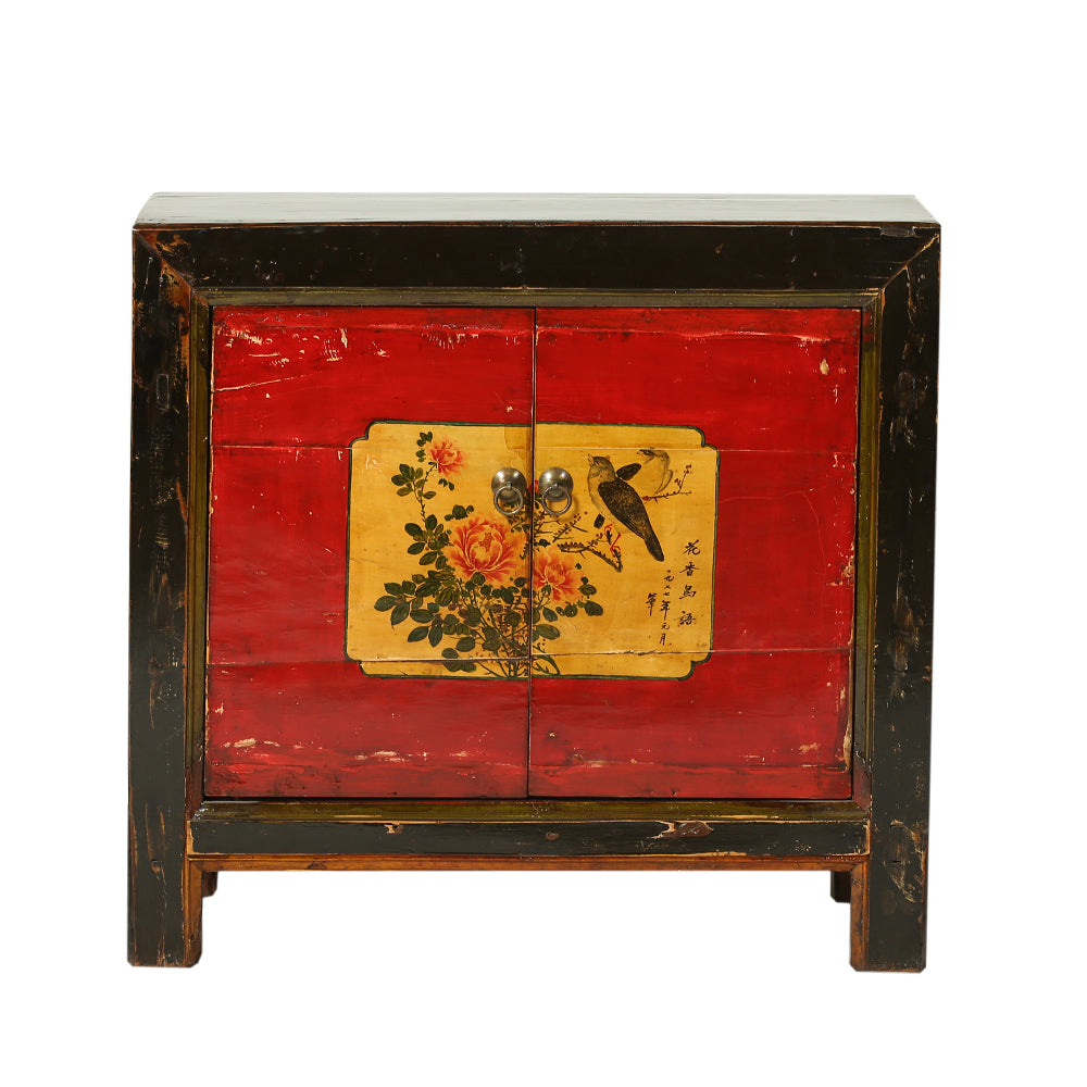 Vintage Cabinet from Gansu with Peonies and Perching Birds