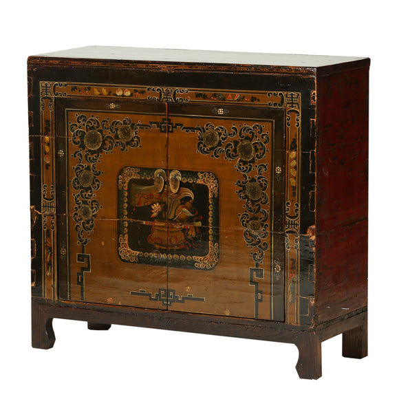 Vintage Cabinet from Gansu with Ornate Painting
