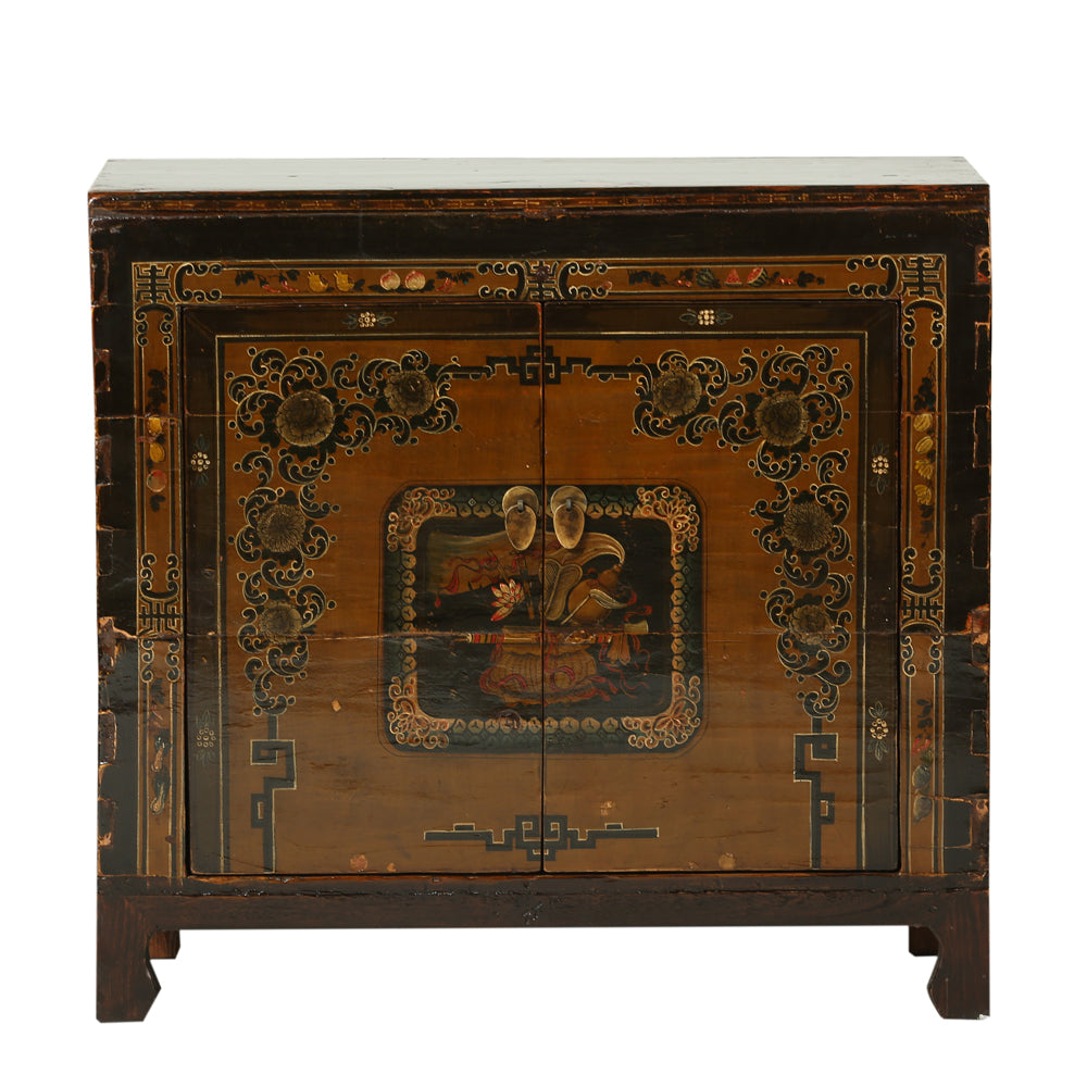 Vintage Cabinet from Gansu with Ornate Painting - Chinese homewares- Rouge Shop antique stores London - city furniture