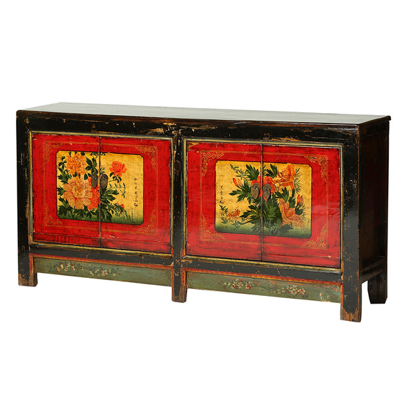 Vintage Poplar Sideboard from Gansu with Flowers