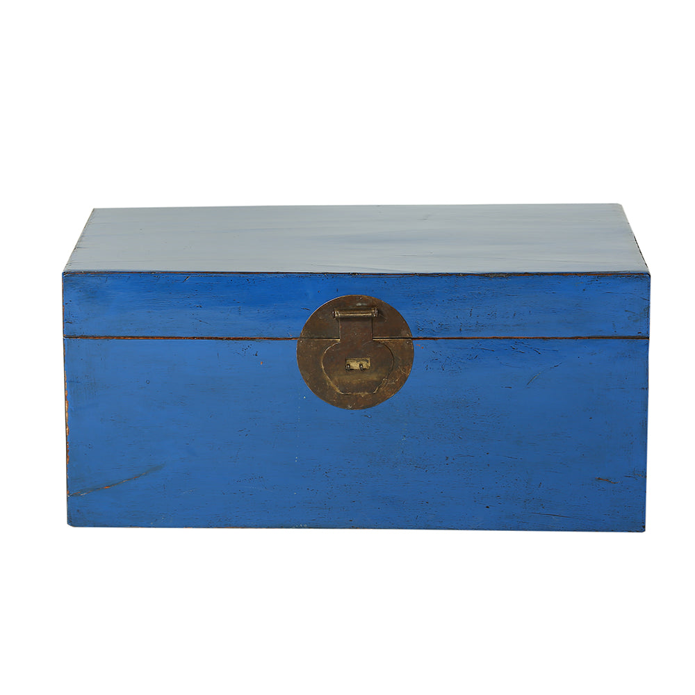 Vintage Blue Chinese Chest from Beijing - Chinese homewares- Rouge Shop antique stores London - city furniture