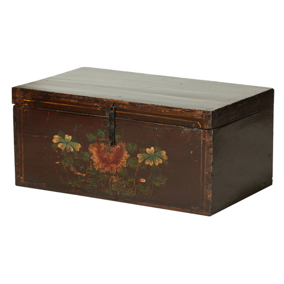 Vintage Chinese Chest from Shanxi with Peony Flower