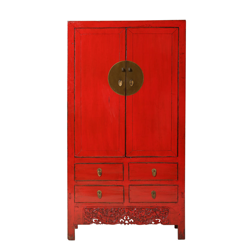 Red Vintage Chinese Cupboard from Shanxi