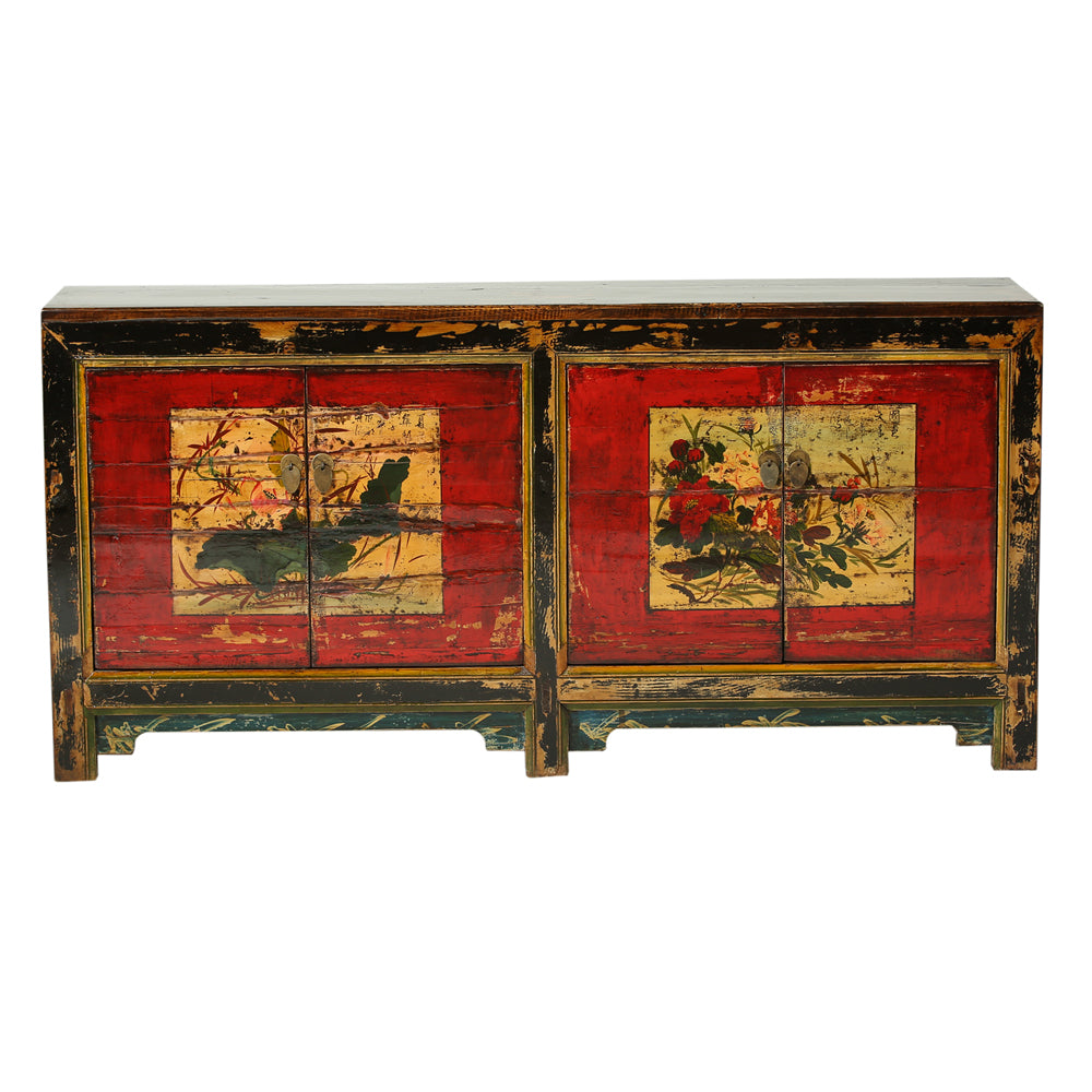 Vintage Poplar Sideboard from Gansu with Peonies and Lotus - Chinese homewares- Rouge Shop antique stores London - city furniture