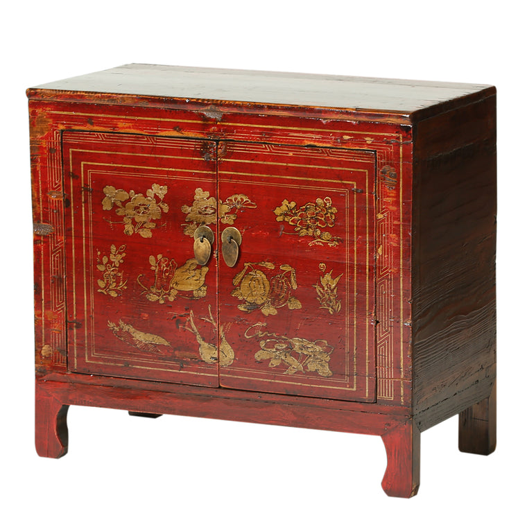 Red Vintage Chinese Cabinet from Gansu with Gold Fruit and Flowers