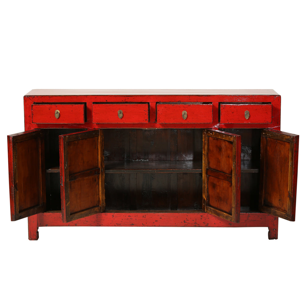 Red Vintage Sideboard from Dongbei
