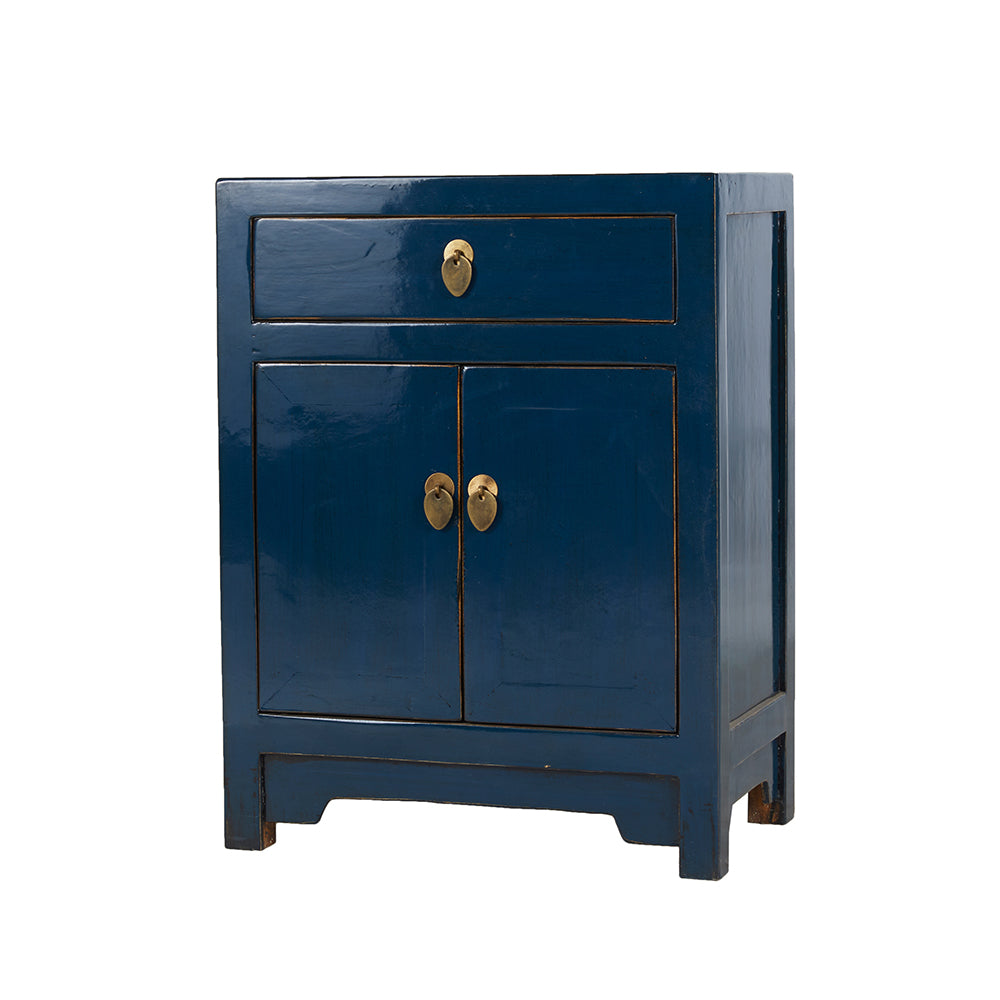 Dark Blue Chinese Bedside Cabinet - Chinese homewares- Rouge Shop antique stores London - city furniture