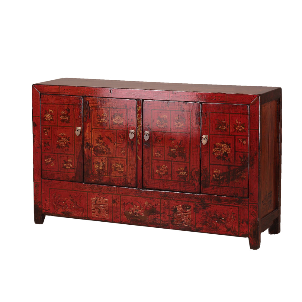 Vintage Chinese Red Sideboard from Dongbei with Flora and Fauna - Chinese homewares- Rouge Shop antique stores London - city furniture
