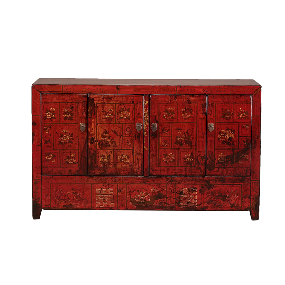 Vintage Chinese Red Sideboard from Dongbei with Flora and Fauna
