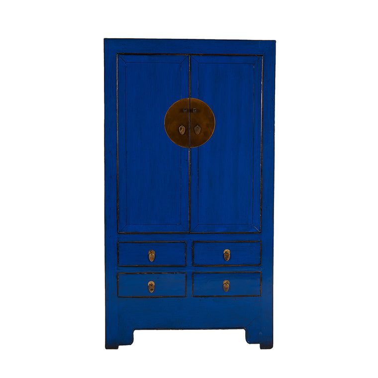 Blue Vintage Chinese Cupboard from Hebei