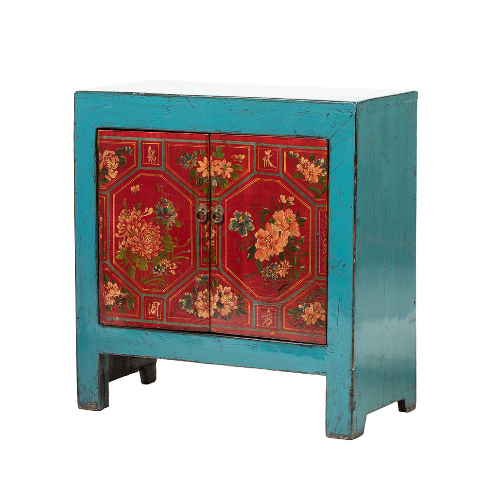 Small Vintage Cabinet with Floral and Geometric painting