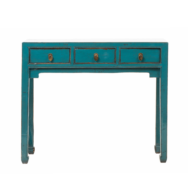 Vintage Chinese Writting Desk in Teal from Shanxi Province