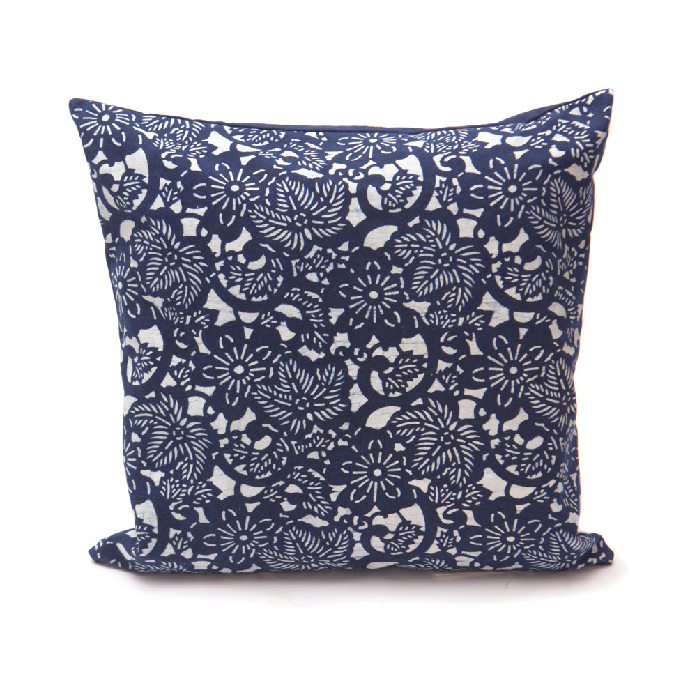 Floral Pattern Handmade Indigo Cushion - 50 x 50cm - Chinese homewares- Rouge Shop antique stores London - city furniture