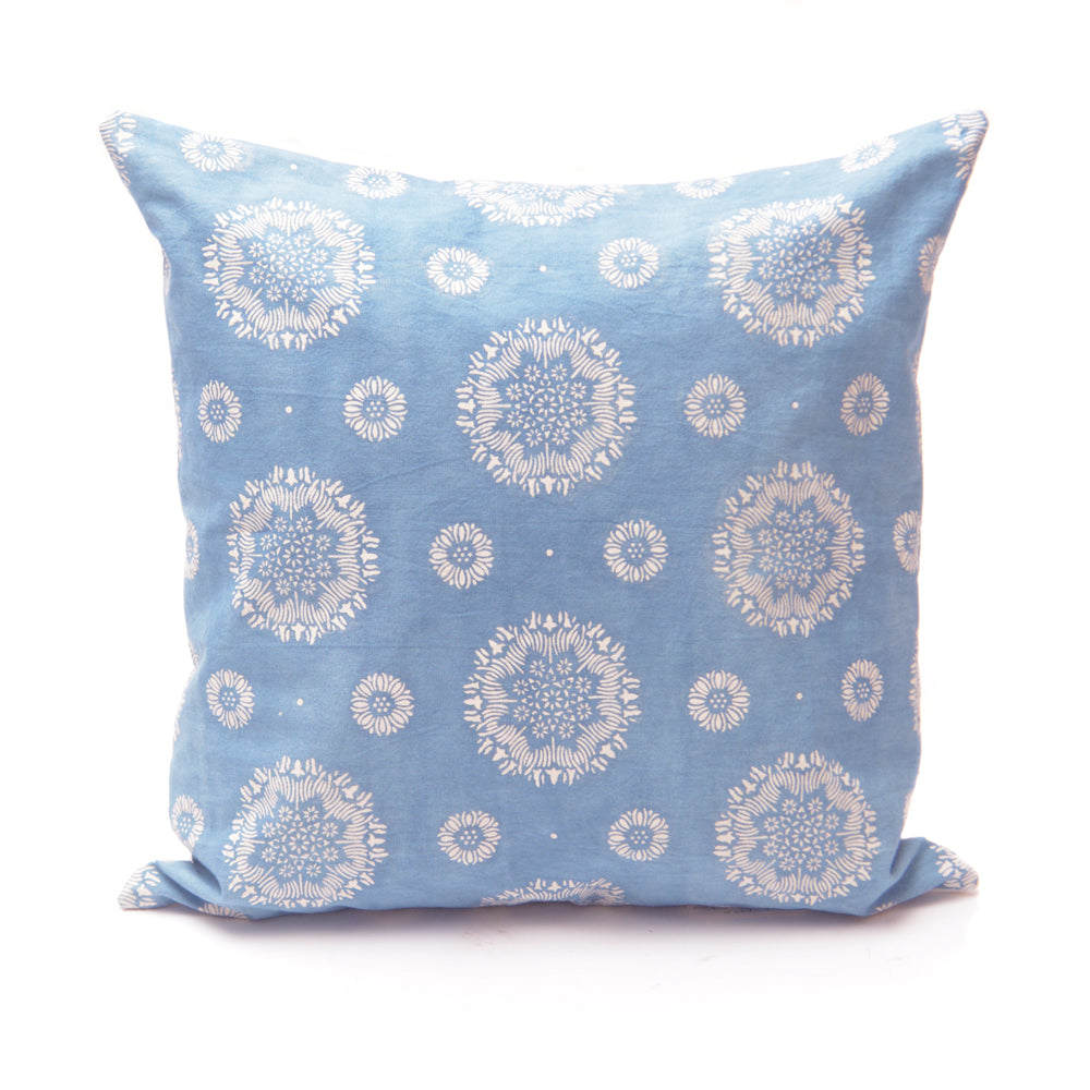 Floral Pattern Light Indigo Handmade Cushion - 50x50cm - Chinese homewares- Rouge Shop antique stores London - city furniture