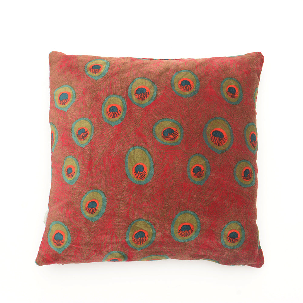 Cotton Velvet Cushion - Peacock Red - Chinese homewares- Rouge Shop antique stores London - city furniture