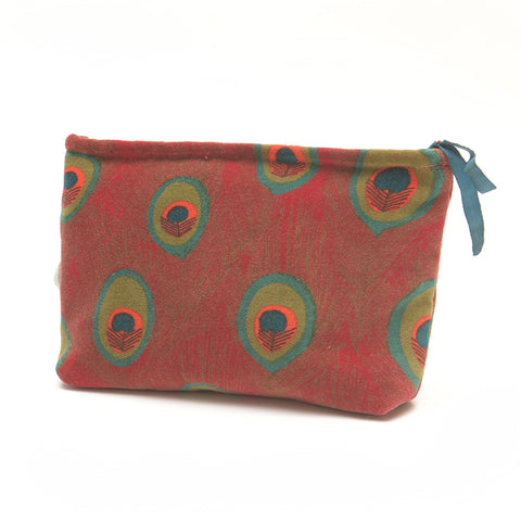 Cotton Velvet Washbag Bag - Peacock Red Small - Chinese homewares- Rouge Shop antique stores London - city furniture