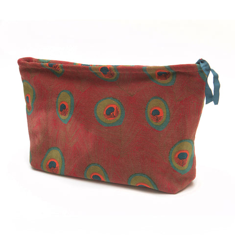 Cotton Velvet Washbag Bag - Peacock Red Large - Chinese homewares- Rouge Shop antique stores London - city furniture