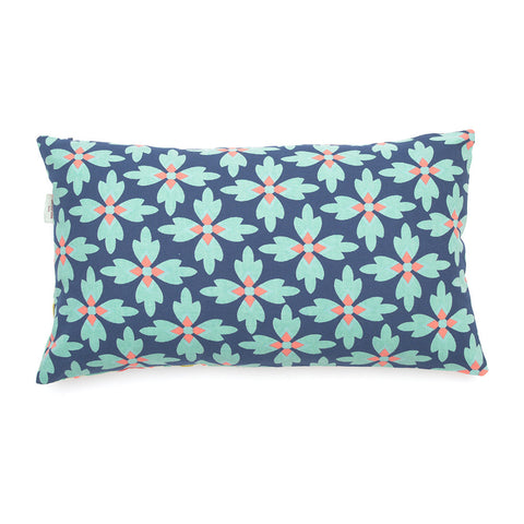 Revigny Navy/ Louxor Zest Hand Printed Cotton Cushion - Asian Inspired Furniture Accessories Cermaics - Rouge Shop