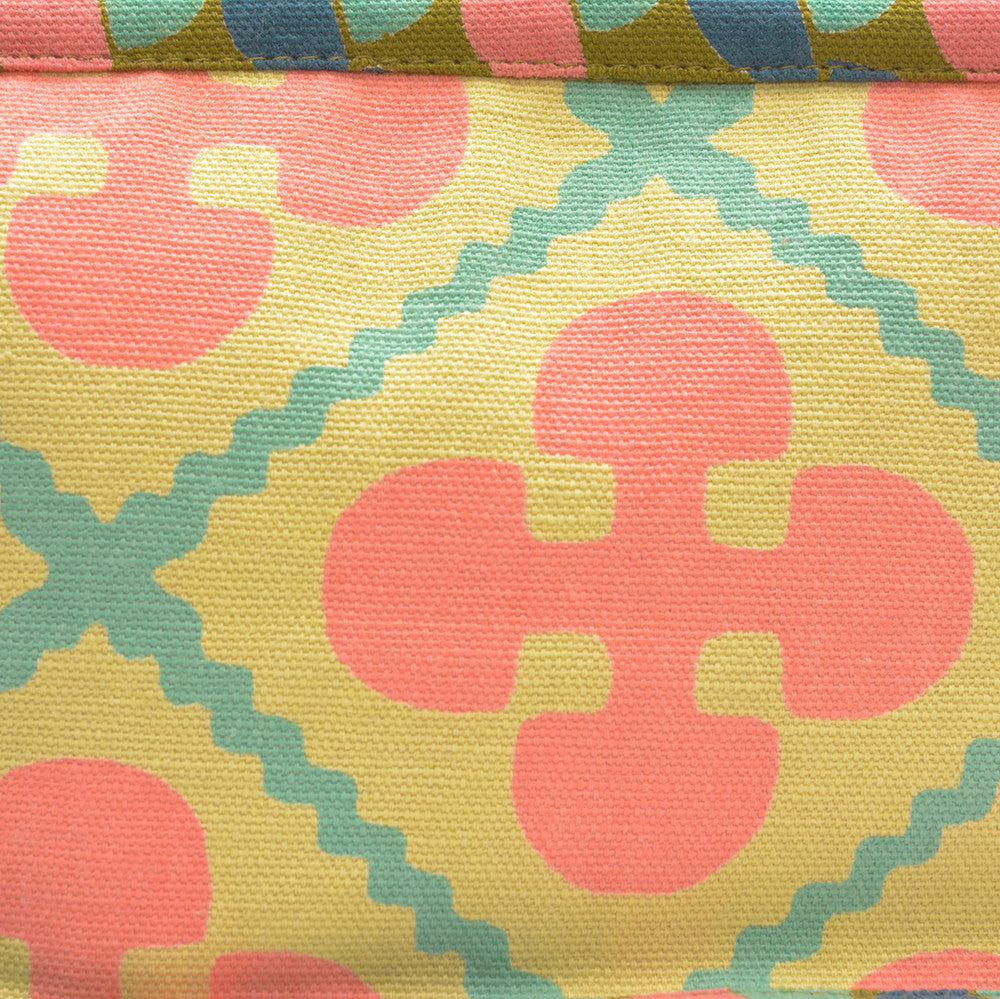 Cotton Washbag/Cosmetics Bag - Small Gibraltar Pastis detail