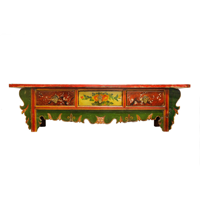 Low Vintage Gansu Cabinet with Floral Motifs