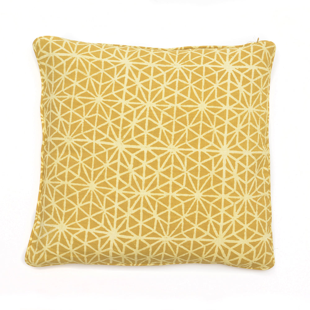 Mud Dyed Embroidered Cushion 50x50cm Mustard