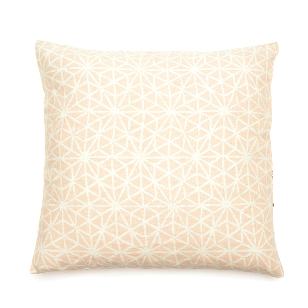 Mud Dyed Embroidered Cushion 50x50cm Dusky Pink