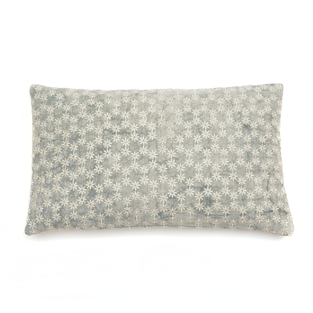 Mud Dyed Cushion with Embroidered Jasmine 30x50cm