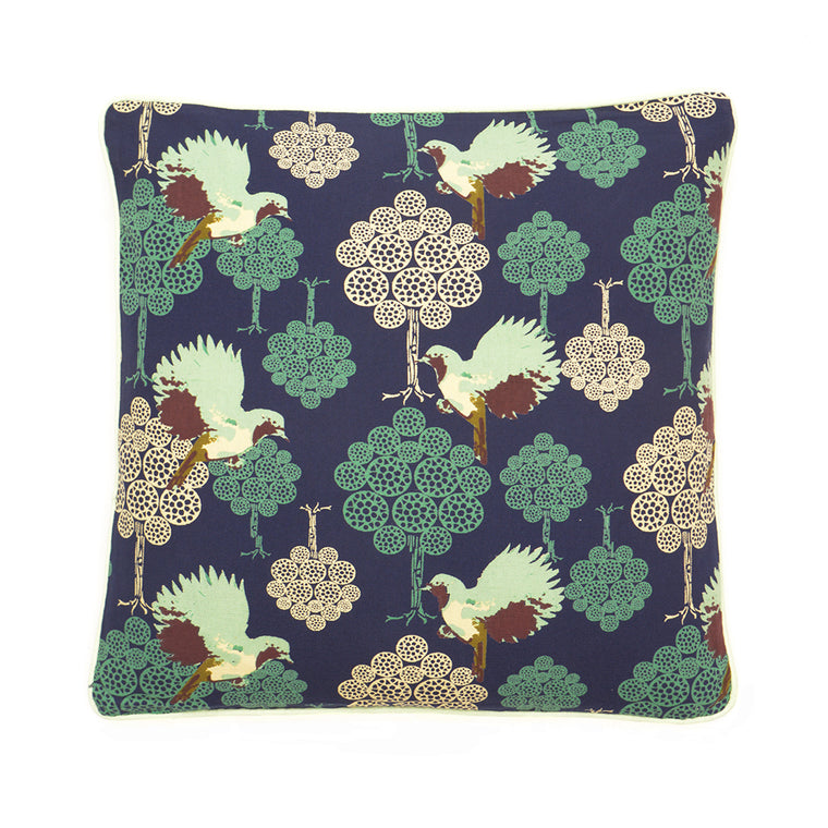 Teal Bird on Navy Blue Printed Cotton Cushion