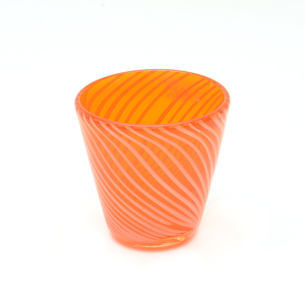 Orange and White Twist Glass