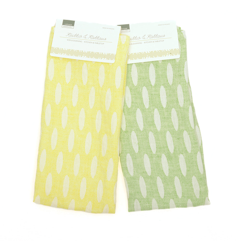 Helmi Tea Towel from Lapuan in yellow and green