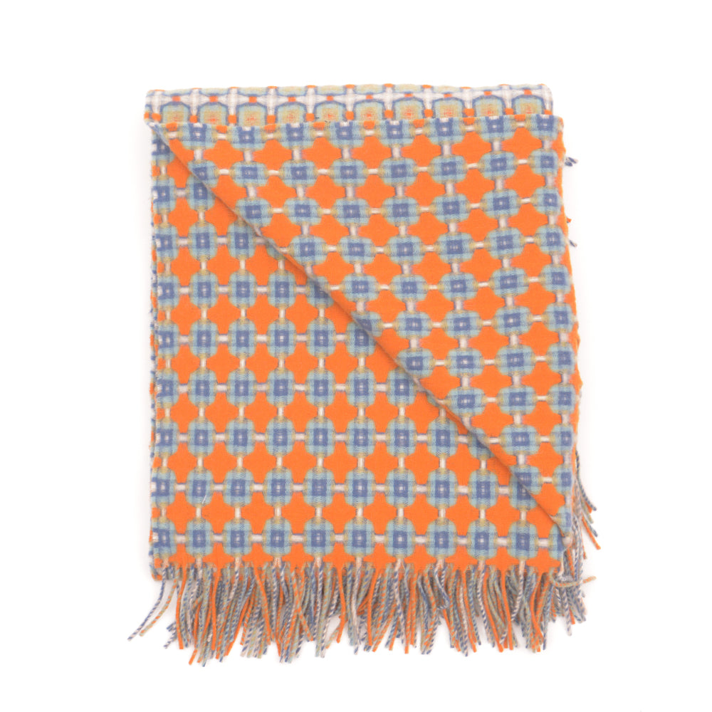 Orange and Indigo Basket Weave Throw by Paulette Rollo - Chinese homewares- Rouge Shop antique stores London - city furniture
