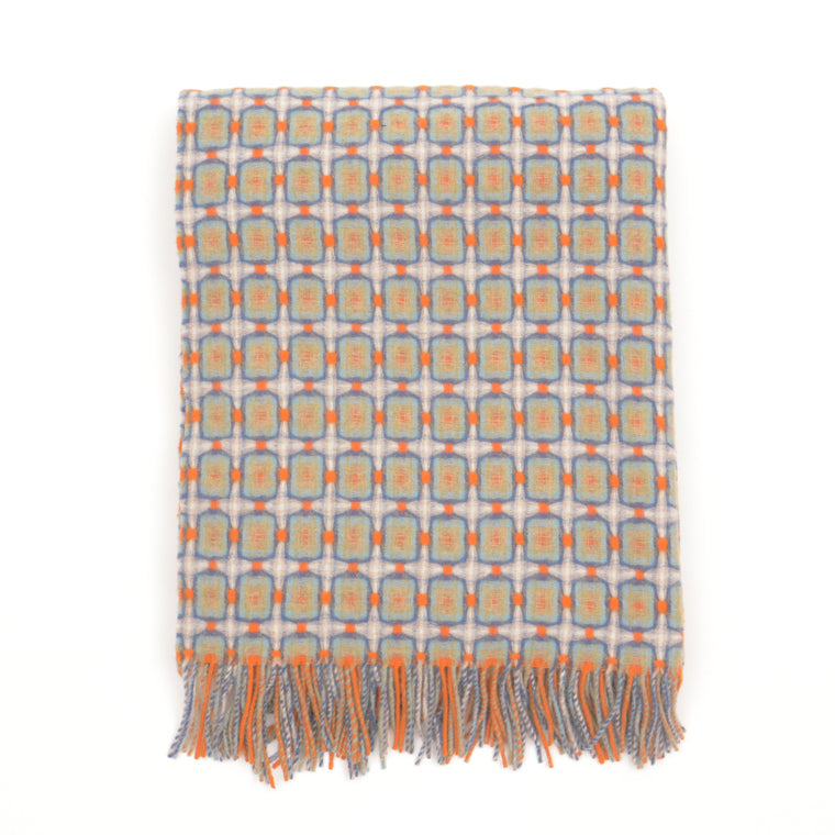 Orange and Indigo Basket Weave Throw by Paulette Rollo