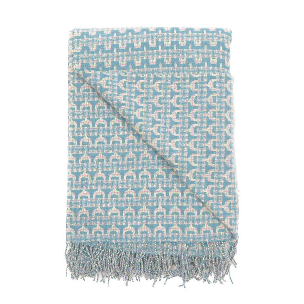 Teal and Pink Lambswool Wave Weave Throw by Paulette Rollo