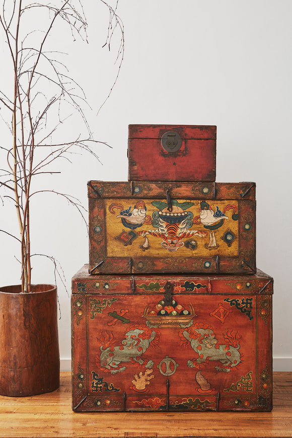 Vintage Tibetan Chest with Snow Lion Motifs