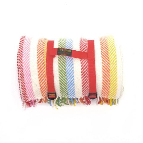 Tweedmill All Wool Picnic Blanket Rainbow Stripe rolled