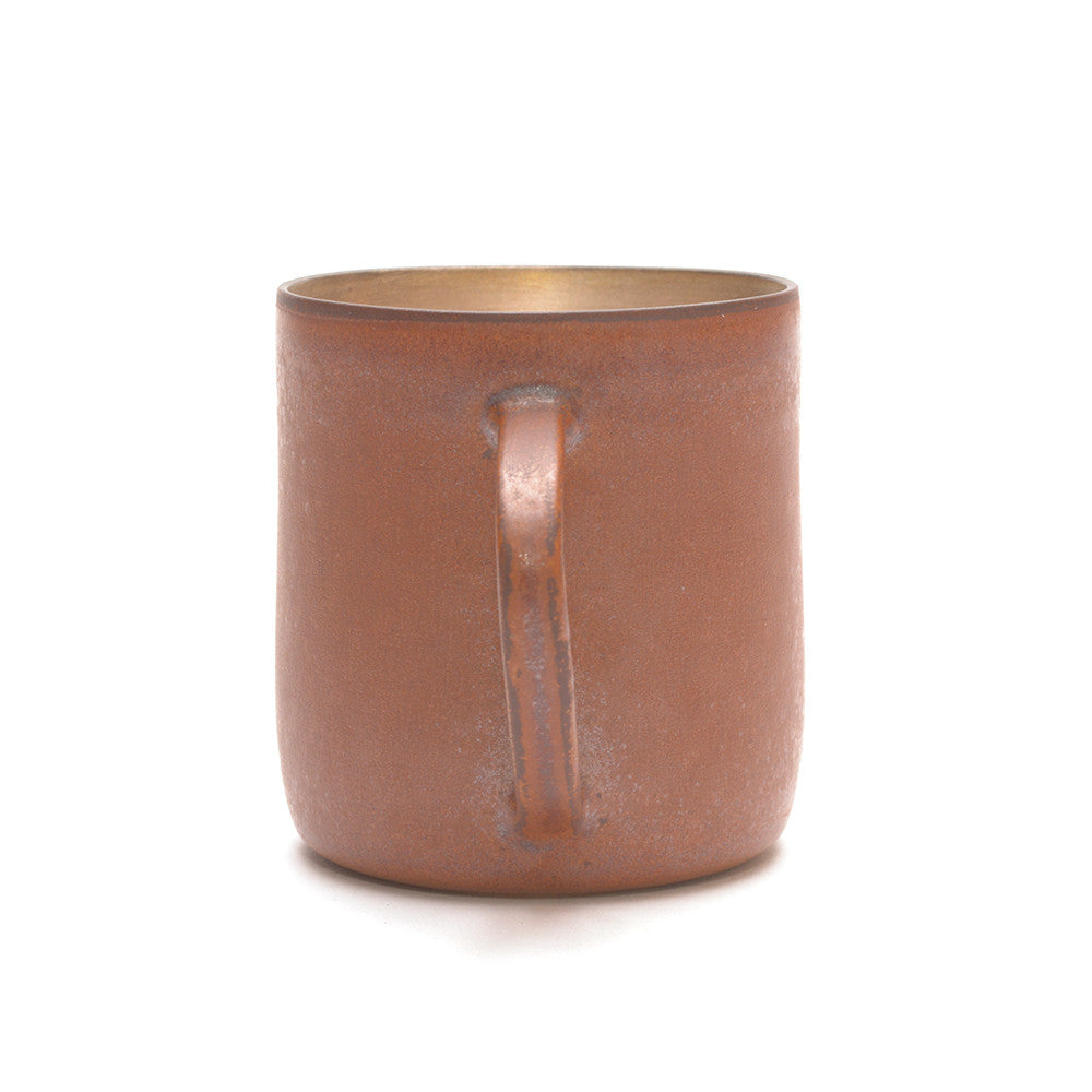 Red Clay and Silver Glaze Mug handle towards